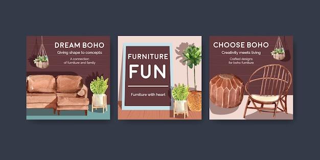 Annoncez le modèle avec la conception de concept de meubles boho pour le marketing illustration aquarelle