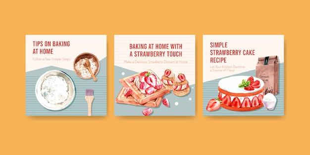 Annoncez le modèle avec la conception de cuisson aux fraises avec des ingrédients, des gaufres aux fraises, un parfait de shortcake et une illustration aquarelle de ganache à la crème