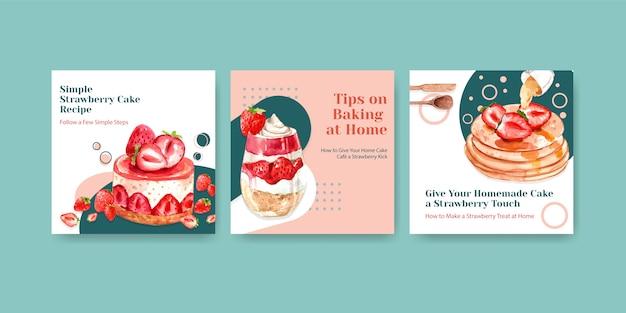 Annoncez le modèle avec la conception de cuisson aux fraises pour brochure avec gaufres, gâteau au fromage et illustration aquarelle shortcake