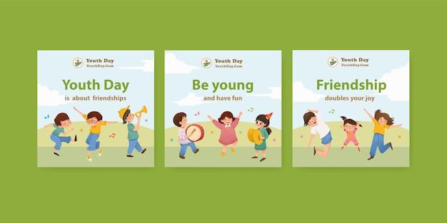 Annoncez le modèle avec la conception de la journée de la jeunesse pour le dépliant et annoncez l'aquarelle