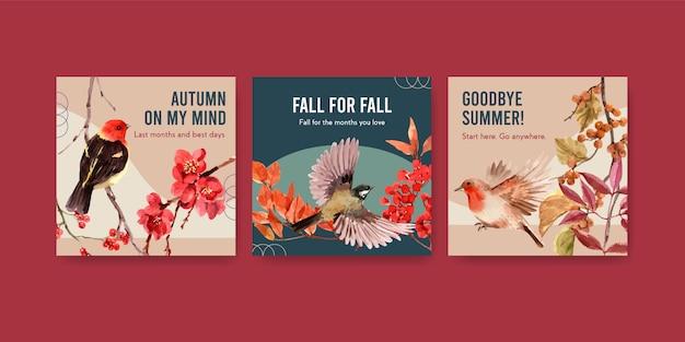 Annoncez le modèle avec la forêt d'automne et les animaux