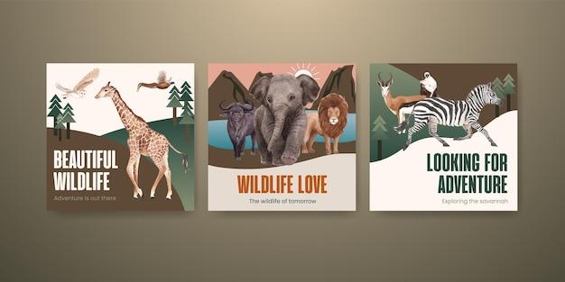 Annoncez le modèle avec illustration aquarelle de concept de faune de savane