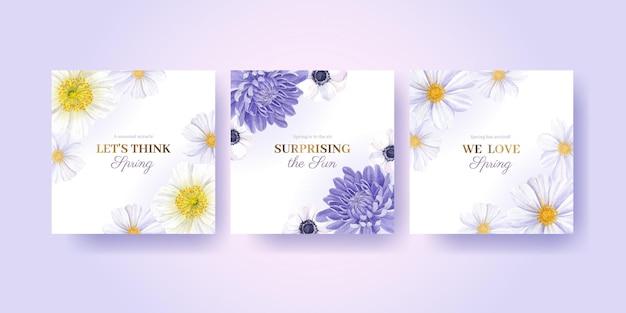 Annoncez le modèle avec illustration aquarelle printemps lumineux concept