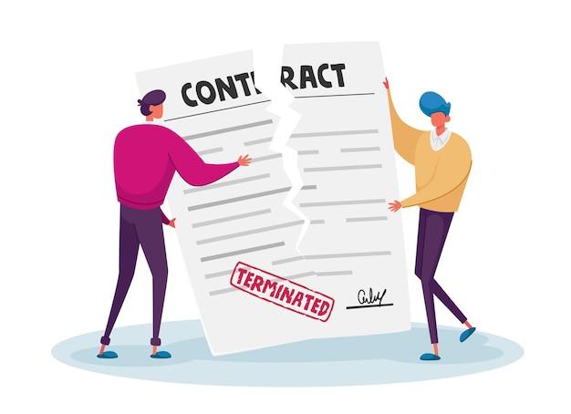Annulation de contrat, concept de résiliation de l'accord.