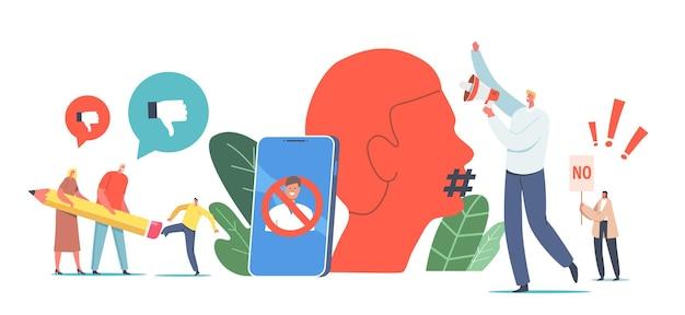 Annuler le concept d'interdiction de la culture. personnages effaçant une personne avec une énorme gomme à crayons, de minuscules militants avec un haut-parleur contre l'effacement de l'identité, une émeute contre un énorme smartphone. illustration vectorielle de gens de dessin animé