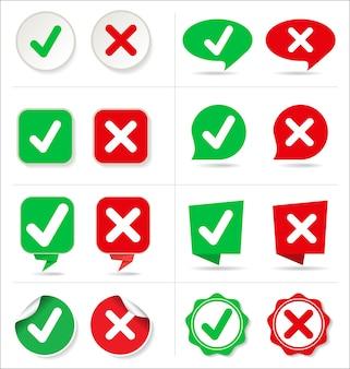 Annuler et vérifier la collection de boutons de forme différente