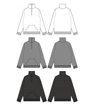 Anorak track top fashion modèle de dessin technique plat