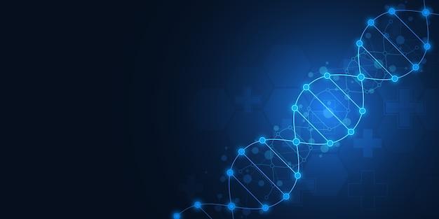 Antécédents de brin d'adn et génie génétique ou recherche en laboratoire. concept de technologie et de science médicale.