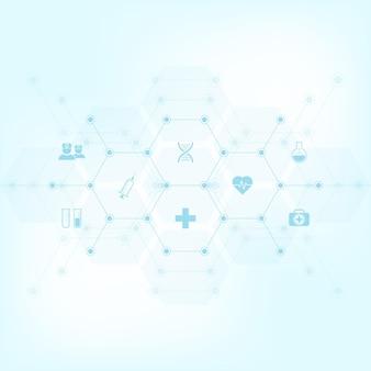 Antécédents médicaux avec des icônes et des symboles plats