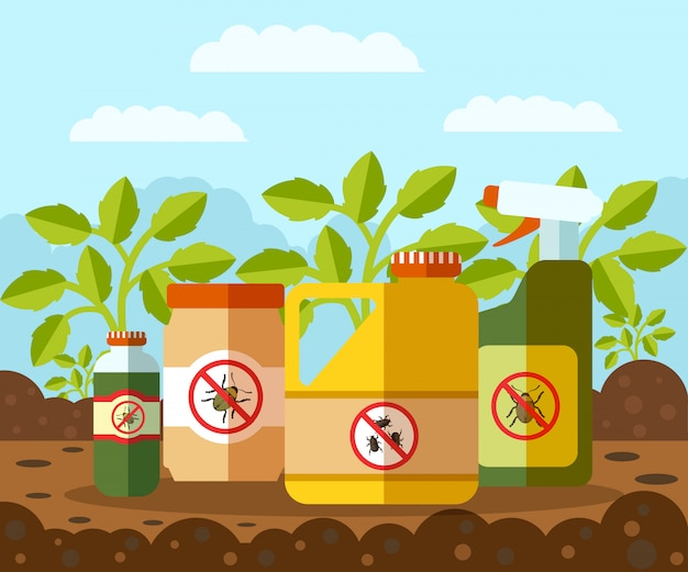 Anti bug, illustration vectorielle de bouteilles de pesticides