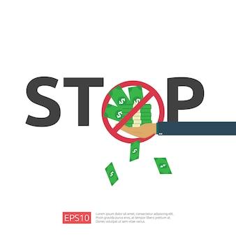 Anti corruption, arrêt et concept de déclin corrompu. pot-de-vin d'affaires avec de l'argent dans une enveloppe et panneau d'avertissement d'interdiction. illustration dans un style plat pour bannière, arrière-plan et présentation