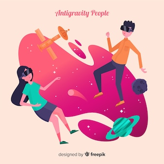 Antigravity people background