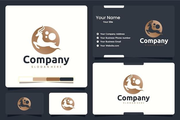 Antilope, saut, inspiration de conception de logo
