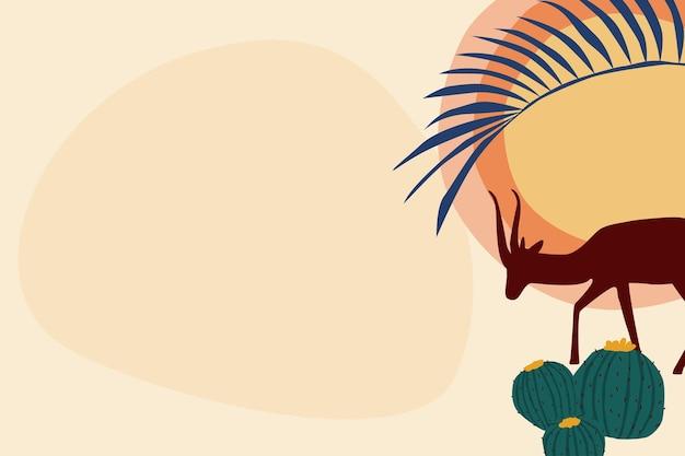 Antilope silhouette, fond de thème abstrait boho