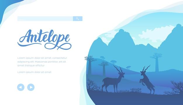 Antilopes sauvages dans les contreforts de la savane africaine