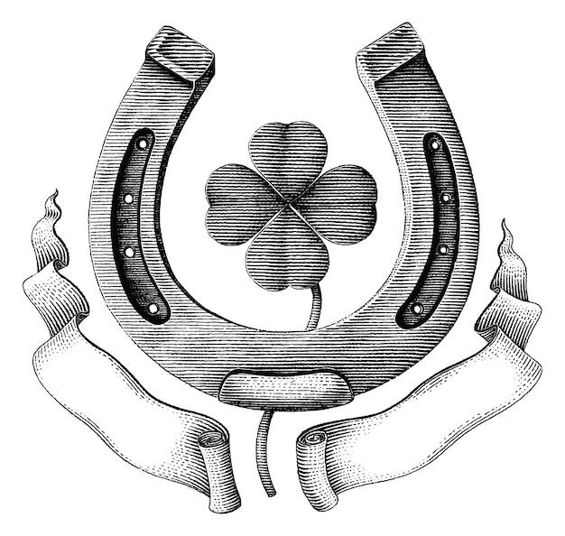 Antique de fer à cheval et feuille de trèfle avec ruban main dessiner illustration style de gravure vintage isolé sur fond blanc