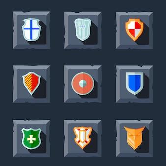 Antique, militaire, boucliers, crête, héraldique, plat, icônes, ensemble, isolé, vecteur, illustration