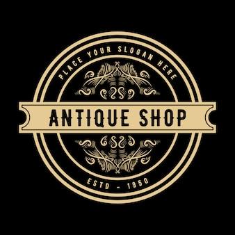 Antique shop or luxe monogramme vintage floral logo décoratif modèle de conception