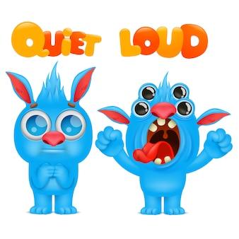 Antonymes et contraires. cartes de personnage de monstre cartoon pour apprendre la langue anglaise. calme et bruyant