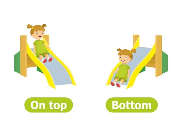 Antonymes de vecteur et contraires. illustration de personnages de dessins animés. en haut et en bas