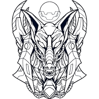 Anubis mecha silhouette