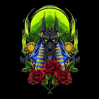 Anubis sombre et l'illustration de la rose