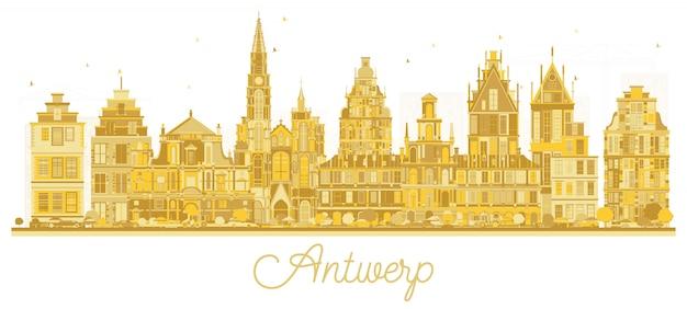 Anvers belgique city skyline silhouette avec bâtiments dorés isolé sur blanc.