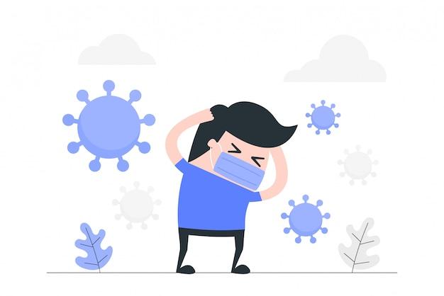 Anxiété et peur du jeune homme à cause du virus corona.