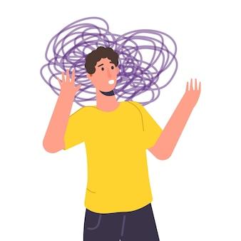 Anxieux, dépression. santé mentale, anxiété, concept d'auto-tromperie. illustration vectorielle plane