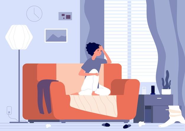 Apathie de la femme. dépression féminine, jeune fille malheureuse désespérée
