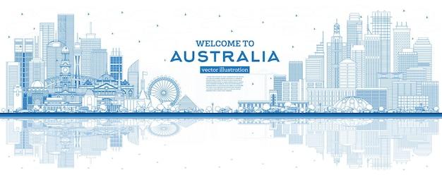 Aperçu bienvenue sur l'horizon de l'australie avec des bâtiments bleus et des reflets. illustration vectorielle. concept de tourisme avec l'architecture. paysage urbain de l'australie avec des points de repère. sydney. melbourne. canberra.