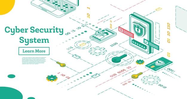Aperçu du concept de cybersécurité. concept de protection des données isométrique. vérification de la carte de crédit et données d'accès au logiciel confidentielles.