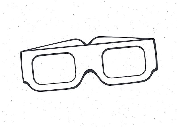 Aperçu de l'industrie cinématographique des lunettes 3d en papier vue de face de lunettes rétro stéréo illustration vectorielle