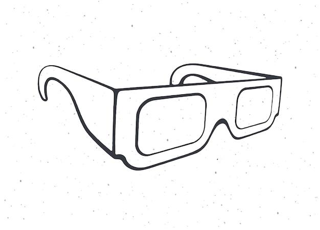 Aperçu de la vue isométrique des lunettes 3d en papier lunettes rétro stéréo vector illustration