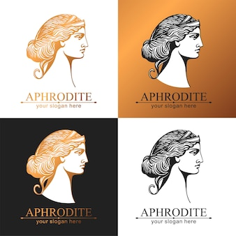 Aphrodite ou vénus. logo de visage de femme. emblème pour un salon de beauté ou de yoga. style d'harmonie et de beauté.