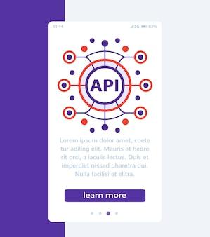 Api, interface de programmation d'applications, bannière mobile, vecteur