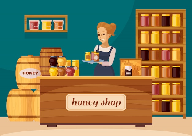 Apicultère Apiculteur Honey Shop Cartoon Vecteur gratuit