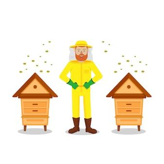 Apiculteur entre deux ruches sur fond blanc.