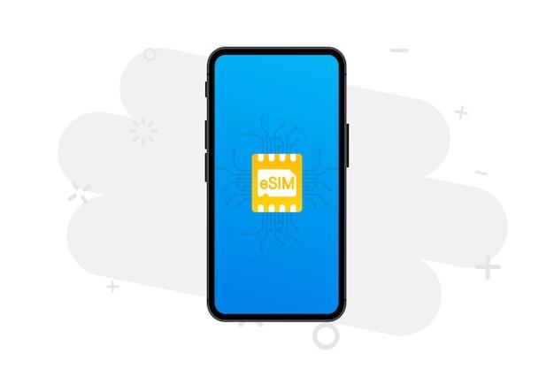 Appareil Mobile Avec Une Puce Sim Embedded Sim Nouveau Concept De Technologie De Communication Mobile Vecteur Premium
