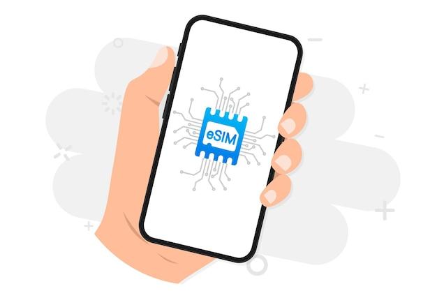 Appareil mobile avec une puce sim embedded sim nouveau concept de technologie de communication mobile