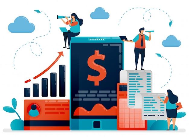 Appareil mobile de vérification des investissements et des entreprises. applications et logiciels de comptabilité pour améliorer les performances de l'entreprise. illustration vectorielle de caractère plat pour page de destination, web, bannière, applications mobiles, affiche, annonces