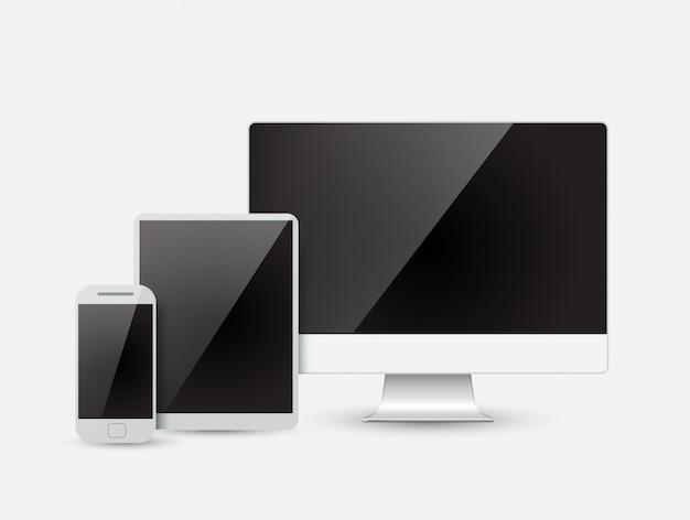 Appareil moderne - moniteur, ordinateur, téléphone, tablette