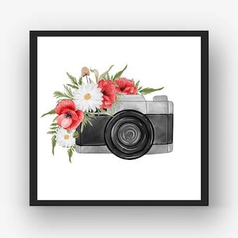 Appareil photo aquarelle avec coquelicot rouge fleur