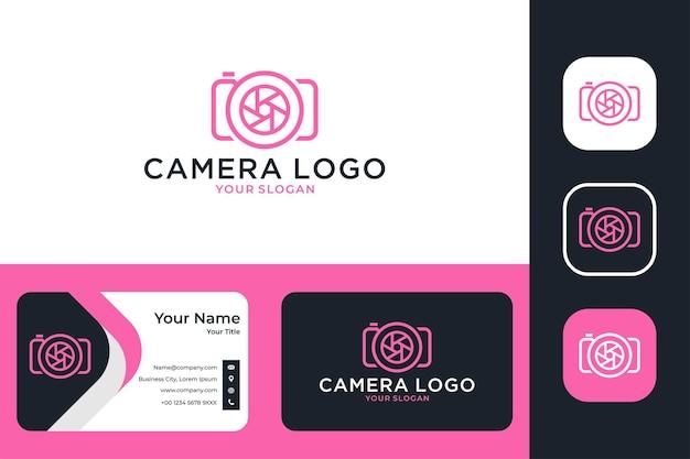 Appareil photo avec conception de logo d'art de ligne d'objectif et carte de visite