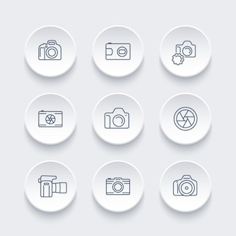 Appareil photo, ensemble d'icônes de ligne de photographie, reflex numérique, ouverture, appareil photo reflex, vue avant et latérale, illustration vectorielle