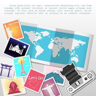 Appareil photo et photo voyagent à travers le monde.