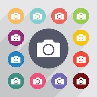 Appareil photo, jeu d'icônes plat. boutons colorés ronds. vecteur