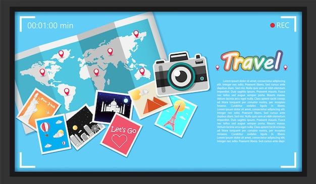 Appareil photo et photo voyagent dans le monde entier.