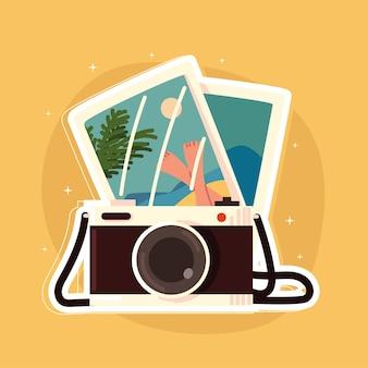 Appareil photo avec photos de vacances