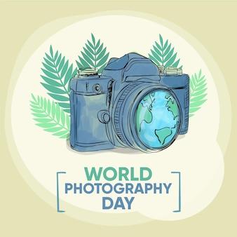 Appareil photo et terre de la journée mondiale de la photographie